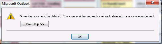 Some items cannot be deleted Outlook |