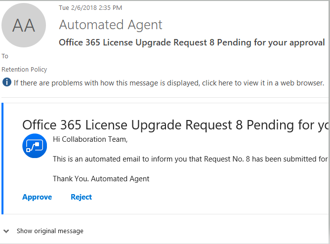 Microsoft Flow Approval – Email Send with options |