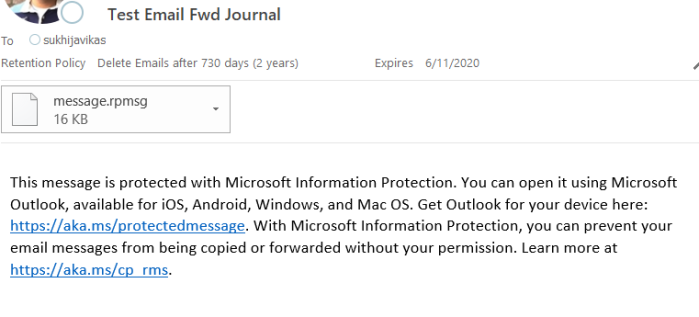 Office 365 New Message Encryption and Discovery/Journal |